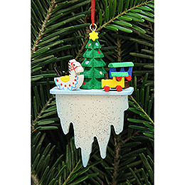 Tree Ornament - Tree with Toys on Icicle - 4,5x7,8 cm / 1.7x3 inch