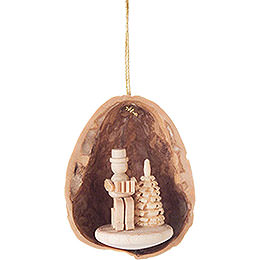Tree Ornament - Walnut Shell Musician with Accordion - 4,5 cm / 1.8 inch