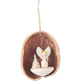 Tree Ornament - Walnut Shell with Angel - 4,5 cm / 1.8 inch