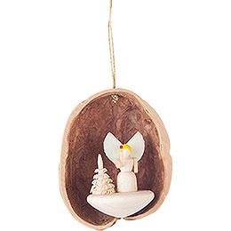 Tree Ornament - Walnut Shell with Angel - 4,5 cm / 1.8 inch