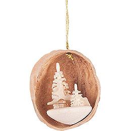 Tree Ornament - Walnut Shell with Deer - 4,5 cm / 1.8 inch