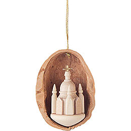 Tree Ornament - Walnut Shell with Dresden Church - 4,5 cm / 1.8 inch