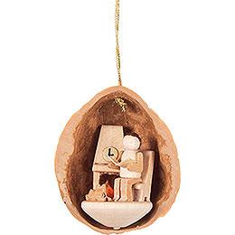 Tree Ornament - Walnut Shell with Elderly Man - 4,5 cm / 1.8 inch