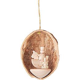 Tree Ornament - Walnut Shell with Horseman - 4,5 cm / 1.8 inch