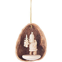 Tree Ornament - Walnut Shell with Rupert - 4,5 cm / 1.8 inch