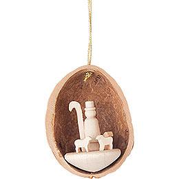 Tree Ornament - Walnut Shell with Shepherd - 4,5 cm / 1.8 inch