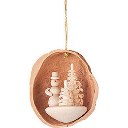 Tree Ornament - Walnut Shell with Snowman - 4,5 cm / 1.8 inch