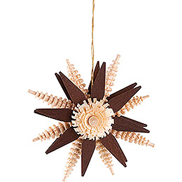 Tree Ornament - Wood Chip Star - Brown - 7 cm / 2.8 inch