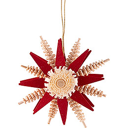 Tree Ornament - Wood Chip Star - Red - 7 cm / 2.8 inch