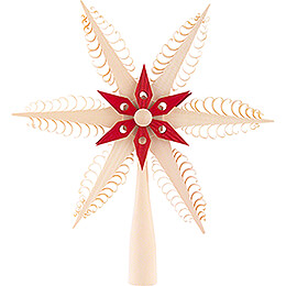 Tree Topper - Wood Chip Star - Natural / Red - 23 cm / 9.1 inch