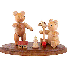 Two Bears Playing - 4 cm / 2 inch