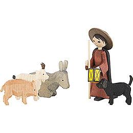 Viehhirte mit Tieren 5-teilig gebeizt - 7 cm