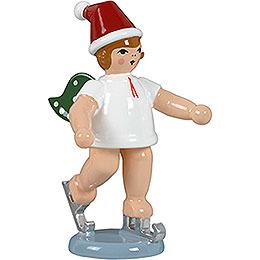 Weihnachtsengel mit Mütze und Schlittschuhen stehend - 6,5 cm