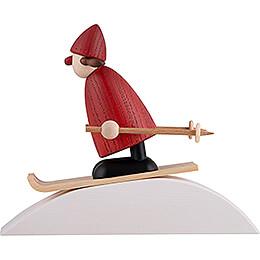 Weihnachtsfrau auf Ski mit Schneehügel - 9 cm