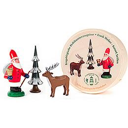 Weihnachtsmann, Baum und Hirsch in Spandose - 5,5 cm