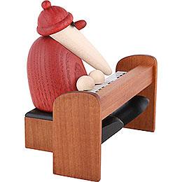 Weihnachtsmann am Piano braun - 9 cm