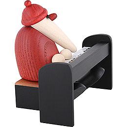 Weihnachtsmann am Piano schwarz - 9 cm