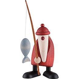 Weihnachtsmann mit Angel - 13 cm