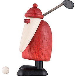 Weihnachtsmann mit Golfschläger oben - 10 cm