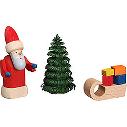 Weihnachtsmann mit Schlitten - 8 cm