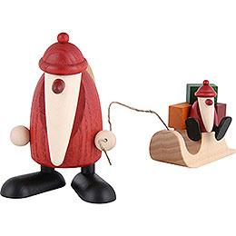 Weihnachtsmann mit Schlitten und Kind - 9 cm