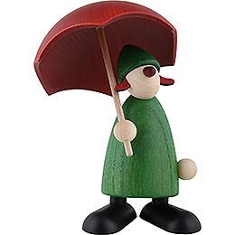 Well-Wisher Charlie with Umbrella, Green - 9 cm / 3.5 inch