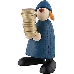 Well-Wisher Goldmarie with Money, Blue - 9 cm / 3.5 inch