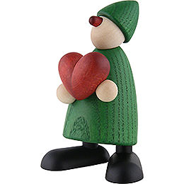 Well-Wisher Theo with Heart, Green - 9 cm / 3.5 inch
