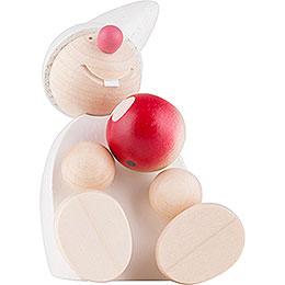 Wicht mit Apfel sitzend - weiß 7,5 cm