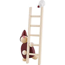 Wicht mit Leiter und Vogel - rot - 20 cm