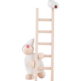Wicht mit Leiter und Vogel - weiß - 20 cm