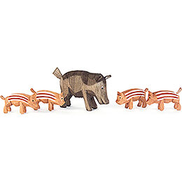 Wild Boar Family - 5 pieces - 4,5 cm / 1.8 inch