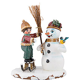 Winter Children Boy with Snowman - 11 cm / 4 inch