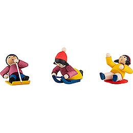 Winter Children Downhill Sliders - 3 pcs. - stained - 7 cm / 2.8 inch