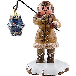 Winter Children Girl with Lantern - 8 cm / 3 inch