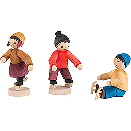 Winter Children Ice-Skaters - 3 pcs. - stained - 7 cm / 2.8 inch