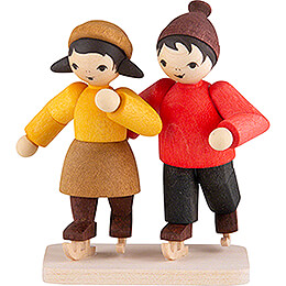 Winter Children Ice-Skating Couple - stained - 7 cm / 2.8 inch