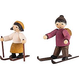 Winter Children Ski Beginner Couple - stained - 7 cm / 2.8 inch