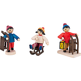Winter Children with Sled - 3 pcs. - stained - 7 cm / 2.8 inch