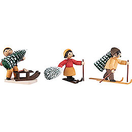 Winter Children with Trees - 3 pcs. - stained - 7 cm / 2.8 inch