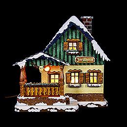 Winterhaus Forsthaus beleuchtet - 15 cm