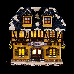 Winterhaus Gasthof beleuchtet - 15 cm