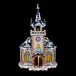 Winterhaus Kirche beleuchtet - 31 cm
