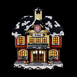 Winterhaus Schule beleuchtet - 15 cm