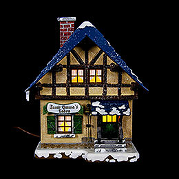 Winterhaus Tante-Emma-Laden beleuchtet - 14 cm