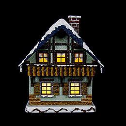 Winterhaus mit Balkon beleuchtet - 15 cm