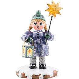 Winterkinder Mädchen mit Stern und Laterne - 8 cm