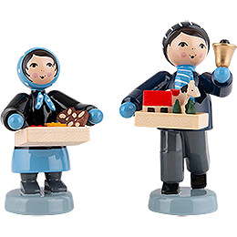 Winterkinder Striezelkinder 2-teilig blau - 7 cm