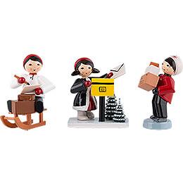Winterkinder Weihnachtspost 3-teilig rot - 7 cm