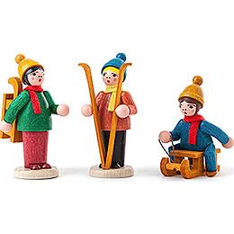 Wintersportler farbig lasiert - 3 Stück  - 6 cm